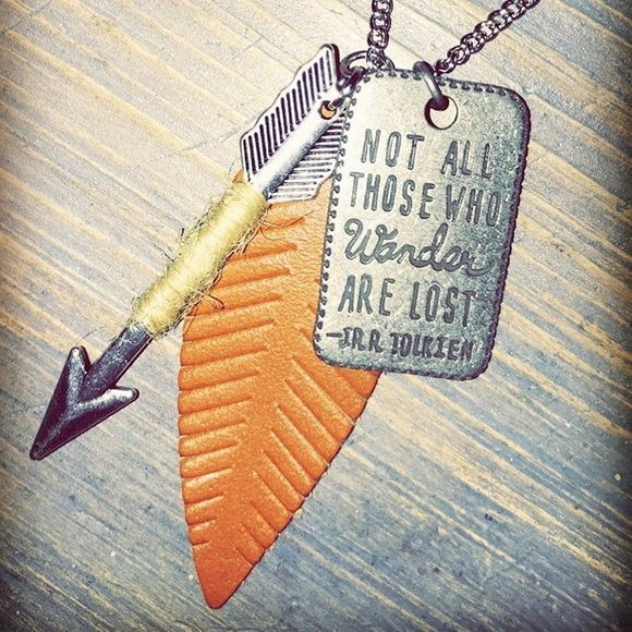 handmade Jewelry - Not all those who wander are lost necklace